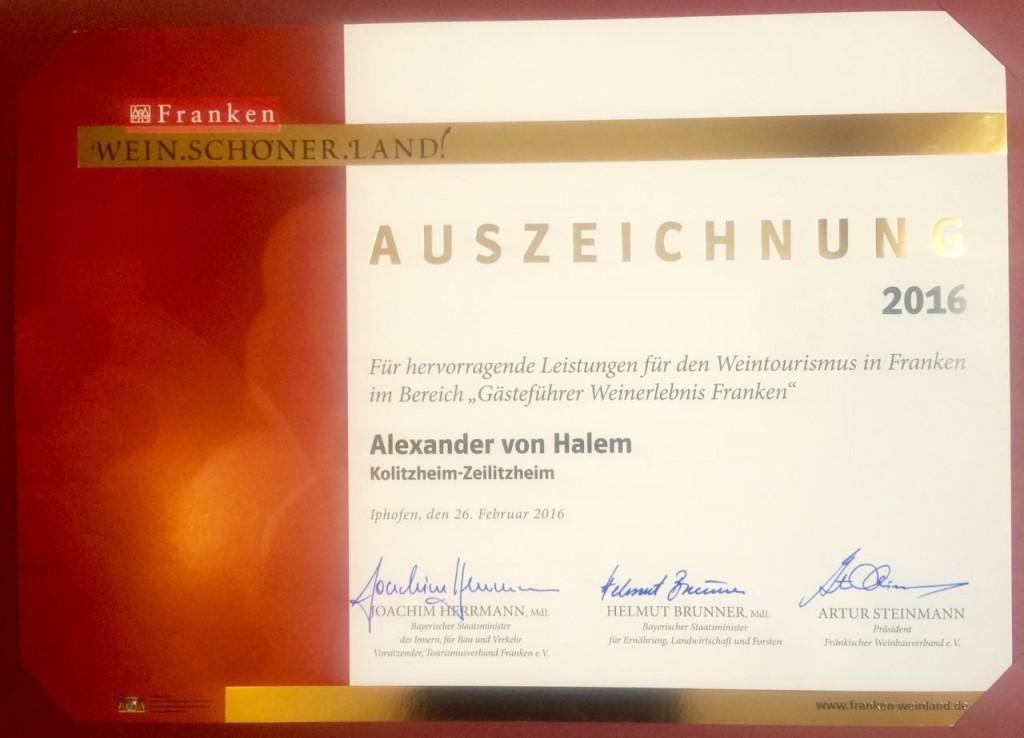Wein.Schöner.Land! Auszeichnung 2016 für Alexander von Halem